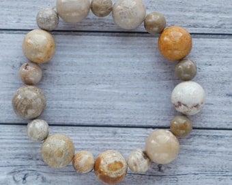 Agatized fossil coral bracelet, natural coral stone bracelet