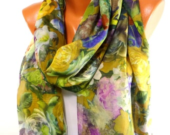 Scarf, Flowery Chiffon Scarf, Women Fashion Accessories, Lightweight Summer Scarf, Rose Printed Scarf, Gifts for Christmas, for Mothers day