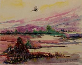 Landscape painting Original painting Watercolor painting mountain stork bird painting original bird art artwork bird watercolor painting