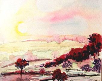 Watercolor landscape painting Sunrise painting watercolor nature art rural landscape painting Sunrise small impressionist art Sunset art