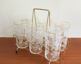 Vintage Set Chance Glasses x 6 in metal carry holder Calypto Tumblers Michael Harris Retro Glassware