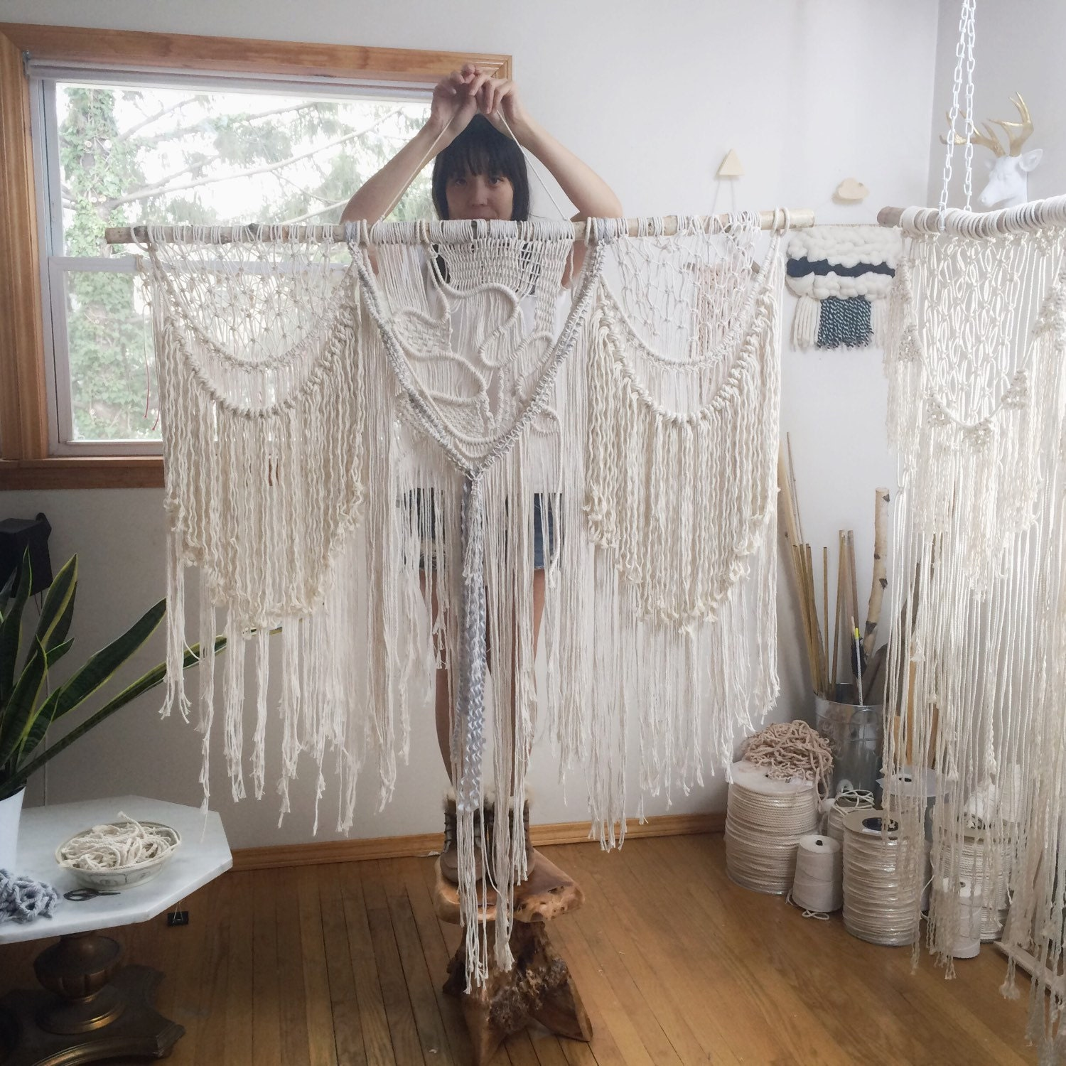 27 bohemian large macrame wall hanging boho decor by for Wall hanging