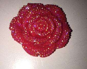 Red/pink flat back 40mm flower