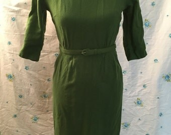 1950's green wool Joan mad men dress small S fitted secretary wiggle 3/4 sleeves