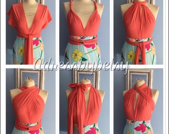Swimsuit multiway infinity/swimsuit/coral orange/stripe high waisted one piece/costume beach/holiday swimwear order your size