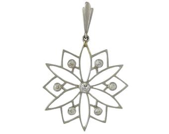 Edwardian Platinum Diamond Snowflake Pendant