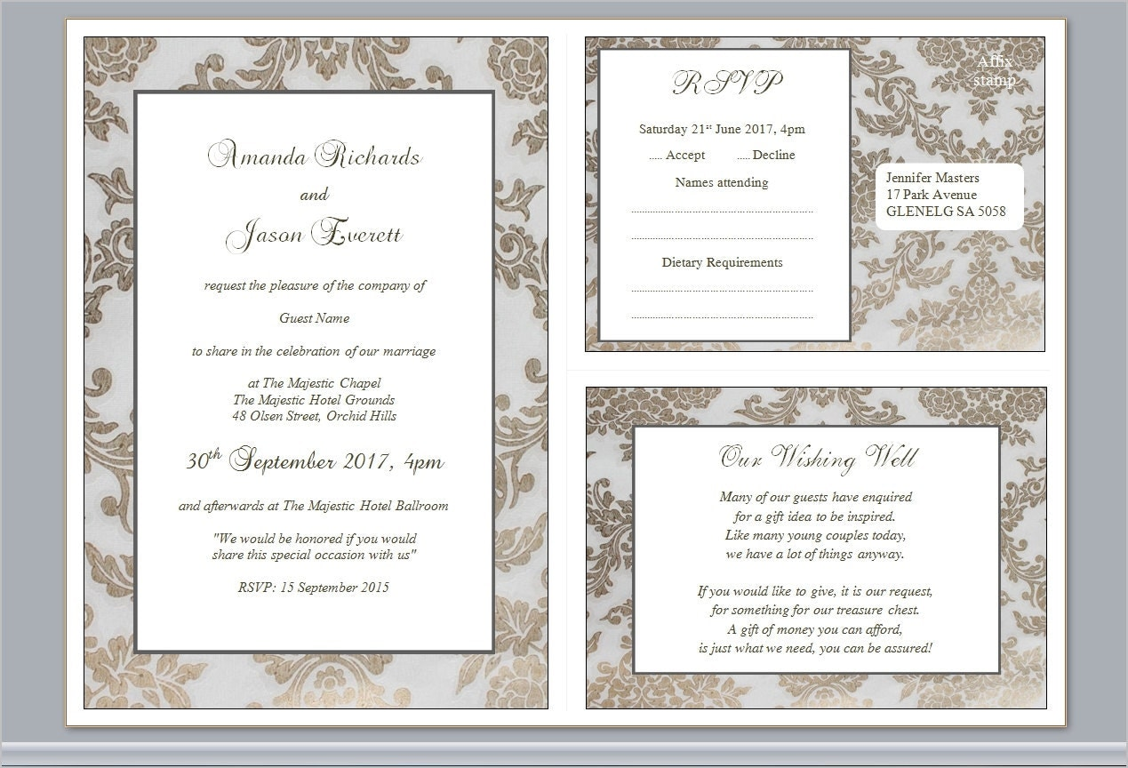 Traditional Elegant Wedding Invitations: Editable Printable Formal Traditional Elegant Wedding Invites
