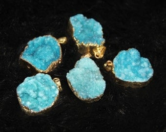 4pcs/lot Gold Plated Druzy Agate Point Pendant Necklace Jewelry 4colors for choice