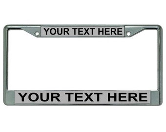 Your Text Here Gray Background Chrome License Plate Frame - LPO1884-B