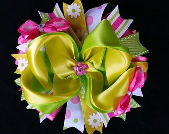 "5.5"" Green, yellow and pink stacked boutique hair bow."