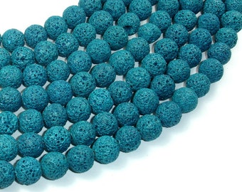 Blue Lava Beads, 10mm (10.5 mm) Round Beads, 15.5 Inch, Full strand, Approx 39 beads, Hole 1 mm (300054041)