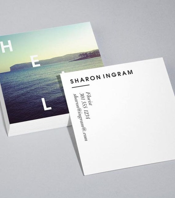 Items similar to custom square pearl metallic business for Custom square business cards