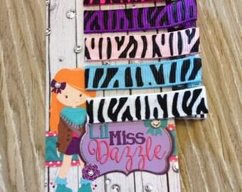 Zebra hair clip - animal hair clip - girls hair clip - toddler hair clip - hair bow - alligator hair clip -