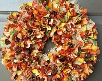 Fall Rag Wreath - Autumn Decor - Rag Wreath - Fall Wedding Decor - Harvest Decor - Harvest Wedding Decor - Burlap Wreath - Front Door Decor