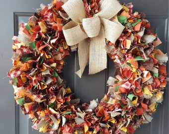 Fall Rag Wreath, Autumn Wreath, Thanksgiving Wreath, Rustic Wreath, Rag Wreath, Thanksgiving, Autumn, Harvest Wreath