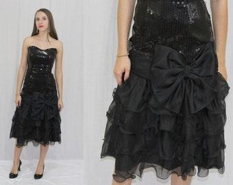 Vintage 80s Nadine Black SEQUIN Ruffle Chiffon Huge BOW Prom Party Dress 3 XS