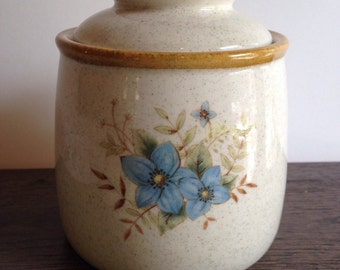 Mikasa Garden Club - Mikasa Day Club - Mikasa Canister - Mikasa Blue Flowers Canister - Vintage Mikasa - Stoneware Canister
