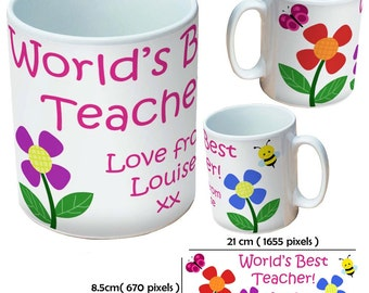 Custom thank you teacher school picture mugs cup as a special personalised gift for leaving present for teachers