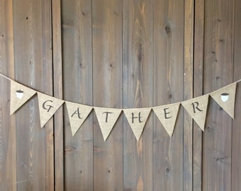 Gather burlap banner - Fall banner with acorns
