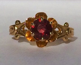 Antique Victorian Garnet Ring, 10K Yellow Gold Garnet Ring, Size 5.75