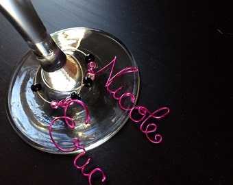 Wine charms, Bachelorette party favor, party favors, name wine charms, personalized wine charm