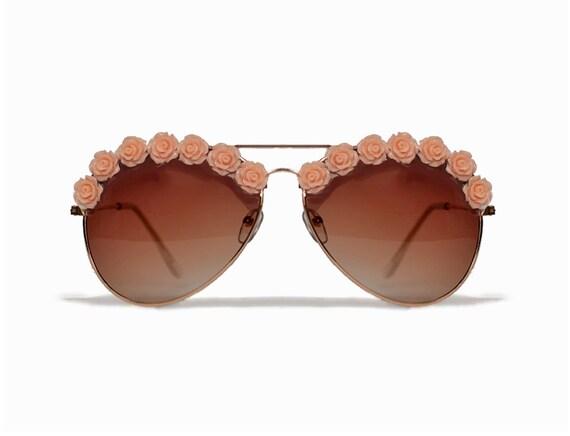 Los Angeles Peach Flower Sunglasses Festival Fashion Coachella