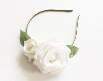 Bride White Rose Flower Crown Headband