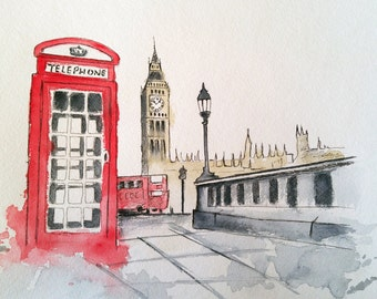 Big Ben, Original Watercolor Painting, London Illustration, Architecture Travel Illustrator, Wall art Home Decor, Christmas Holiday Gift