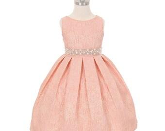 Flower girl dress peach jacquard with embellished waist. Junior flower girl dress. Girls formal dress, Girls holiday dress.