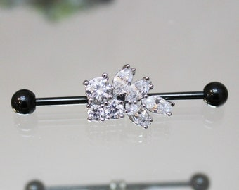 White Crystal Cluster Scaffold/Industrial Piercing Barbell - UK Seller