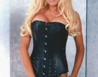 "24"" stunning steel boned Genuine lambskin leather waist cincher corset  tight lacing S M L"