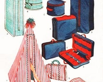 Instant PDF Download Vintage SEWING PATTERN for a Teenage Fashion Doll Garment Bag,Hat Box,Carry All,Shoe Carry,Cabana,Beach Mat Hold All
