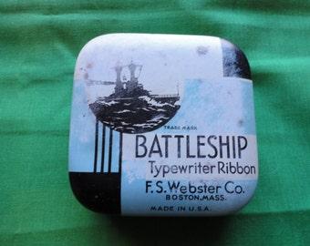 BATTLESHIP Typewriter Ribbon Tin