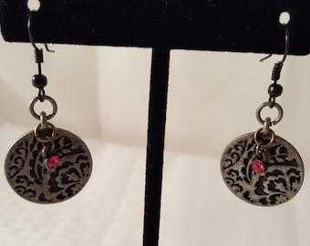 Hot Pink & Metal Earrings - Hot Pink Earrings - Metal Earrings - Black Earrings - Pewter Earrings - Women's Earrings - Women's Pink Earrings