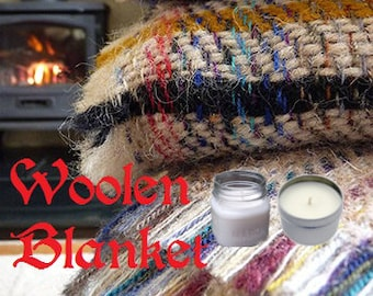 Woolen Blanket Soy Candle 8 oz Soy Wax Mason Jar Candle, Handmade, Hand Poured Pick Your Style and Color