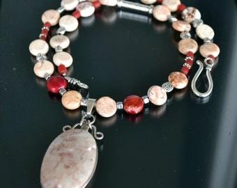 Jasper Necklace, Jasper Jewelry, Gemstone Jewelry, Sterling Silver Necklace, Gemstone Necklace, Red Necklace, Silver Necklace, Tribal (619)