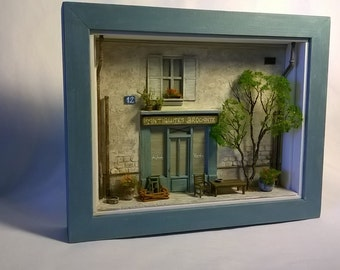 Miniature,  Framed , Dollhouse, Storefront Diorama