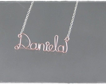 Daniela Wire Word Name Pendant Necklace, SALE!