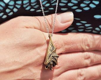 The Sleeping Bat, Brass Bat Pendant, Golden, Brass, Jewelry, Necklace, Sleeping Bat