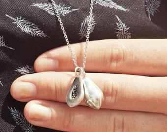 The Slit Papaya, Silver Papaya Pendant, Sterlingsilver, jewelry, necklace