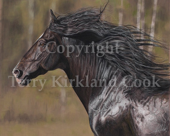 The Black Horse ~ Fine Art Giclee Print of an Original Copyrighted Painting by Terry Kirkland Cook