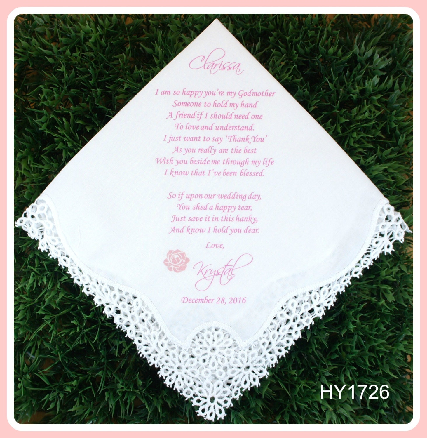 Hairstyle For Wedding Godmother: Godmother Of The Bride Or Groom Gift Hankerchief-Wedding