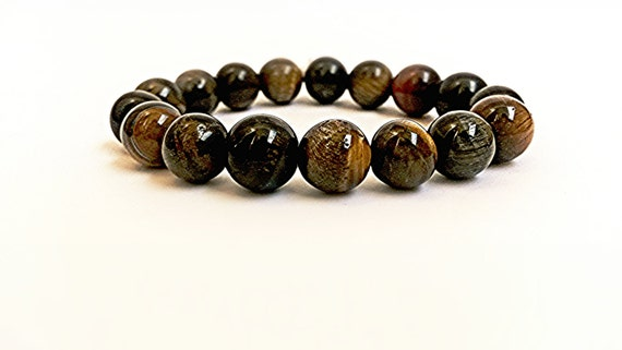 Тiger Еye Bracelet Jewelry  Natural Stone Round Beads Gift for her Stackable Bracelet with Brown Beads Handmade Bracelet