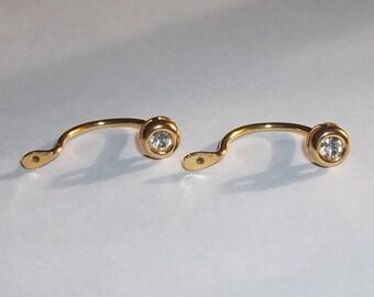 Vintage Bezeled Crystal Gold Tone Post Back Earring Jackets