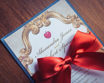 Wedding Invitation inspired by Snow White | Fairytale in gold red | An enchanted invite | Beautiful bespoke invitations for all occasions