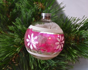 Vintage Unsilvered Christmas Ornament Made in US of A, Glass Stenciled Christmas Ornament