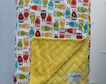 Colorful owls blanket, Baby/Toddler/Teen Minky Blanket.