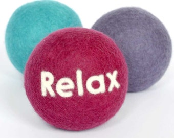 Personalised Stress Ball - merino wool desk accessory filled with Provence lavender.  Keep Calm