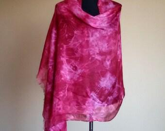 Vinous silk handpainted scarf, shibri scarves, summer scarves, batik art.