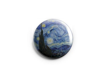 "Van Gogh Starry Night button or magnet  -  1.25"" Pinback Buttons, Starry Night Magnet, Medallion"